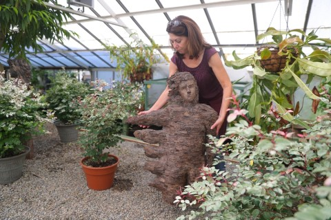 Finger Lakes sculptor Kim Bellavia installs a piece called 'Wind Catcher' in a display at the Buffalo & Erie County Botanical Gardens. Her exhibit, 'Whispering from the Woods'